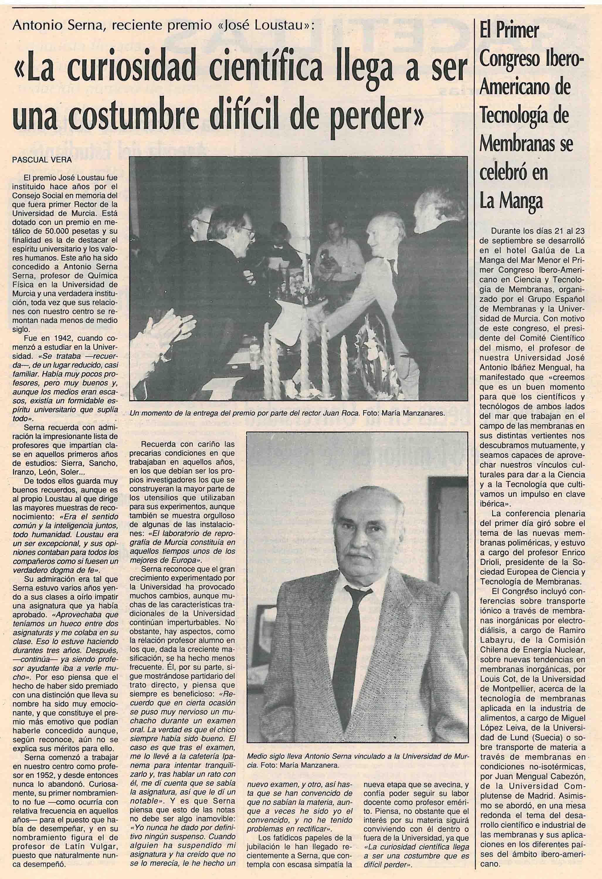 En la entrevista a Antonio Serna, éste hablaba de sus recuerdos en la universidad de Murcia.
