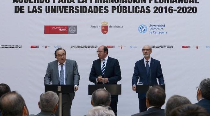 """La Universidad de Murcia """"satisfecha"""" por el acuerdo de financiación plurianual"""