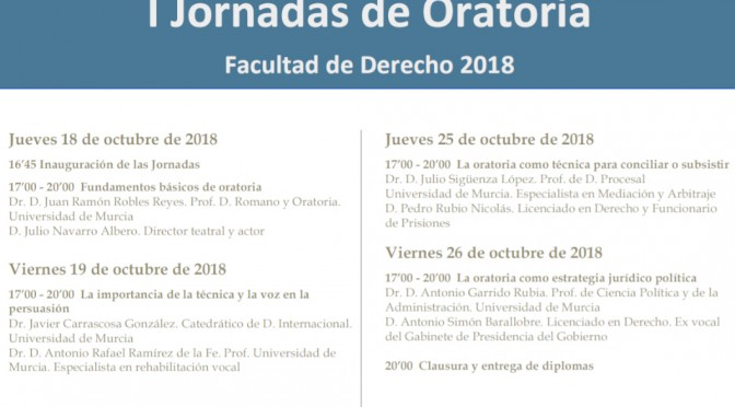 La Universidad de Murcia organiza unas jornadas de oratoria en la facultad de Derecho