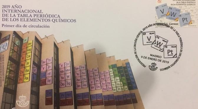 La fachada de la Facultad de Química de la UMU protagoniza el sobre realizado por Correos para conmemorar el Año Internacional de la Tabla Periódica