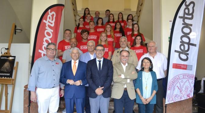 Recepción oficial a los deportistas que representarán a la Universidad de Murcia en la Universidad y los campeonatos de Europa de este verano