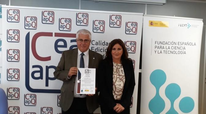 ANECA y la Unión de Editoriales Universitarias entregan a la Universidad de Murcia el sello de calidad CEA-APQ por la gestión editorial de la colección Editum-Signos