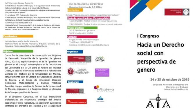 La Universidad de Murcia acoge un congreso de derecho social con perspectiva de género