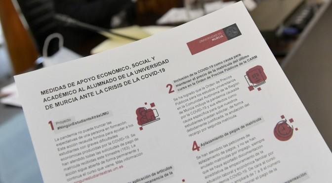 La UMU hace balance de las 15 medidas de apoyo económico, social y académico para estudiantes en la crisis de la COVID-19
