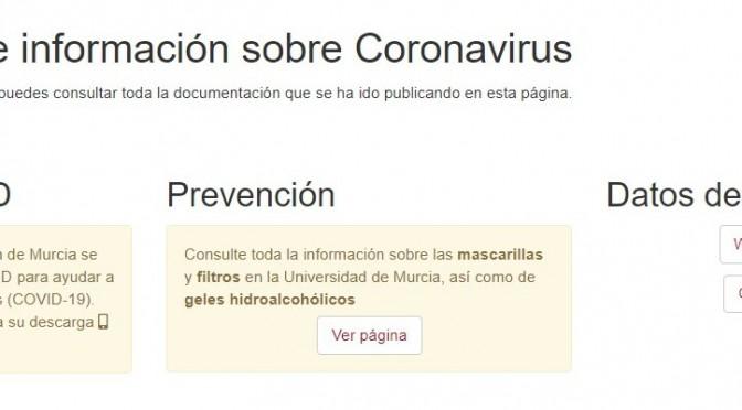 La página web con información práctica del coronavirus de la Universidad de Murcia suma más de 175.000 visitas