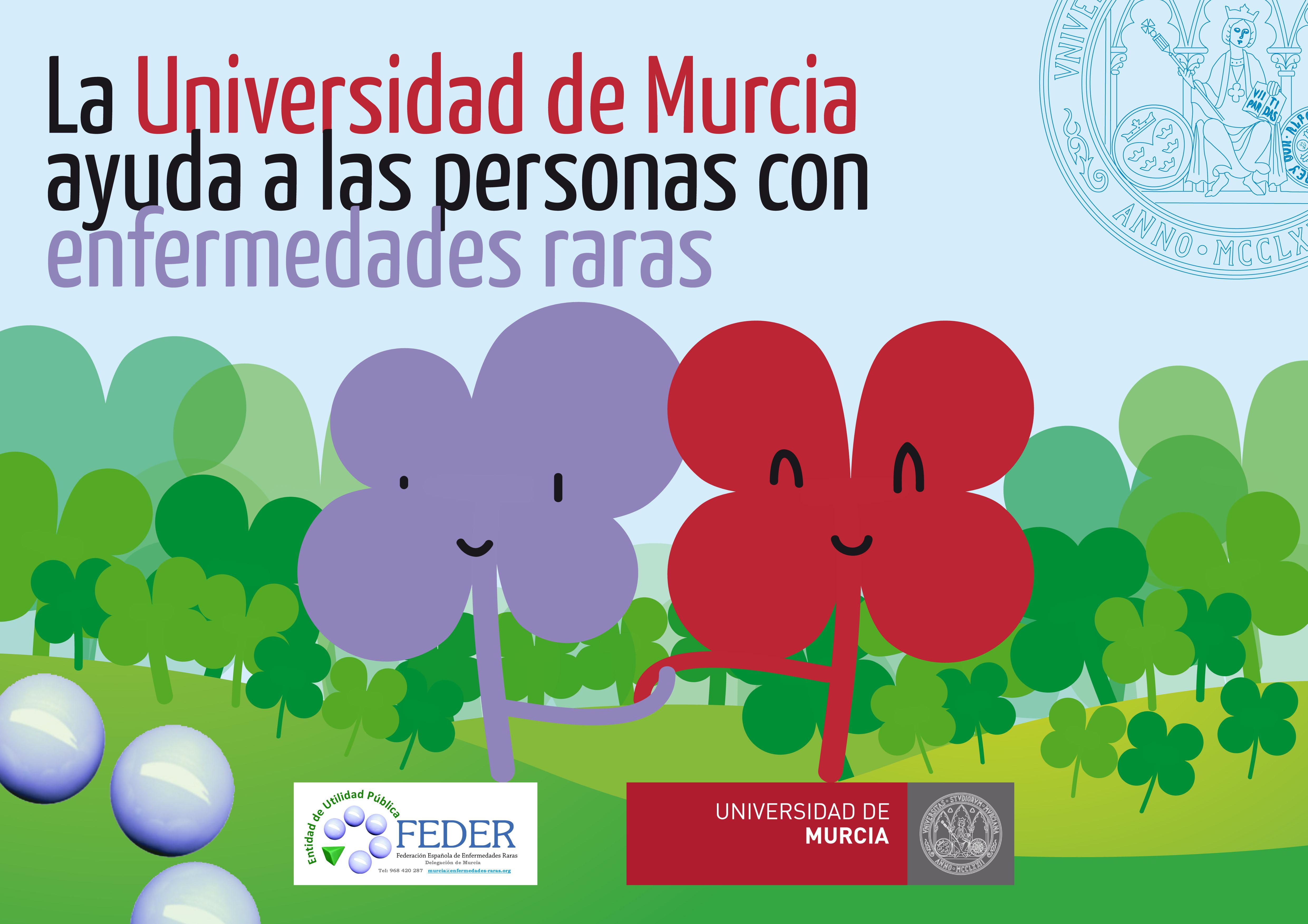 Logo de la campaña La Universidad de Murcia ayuda a las personas con Enfermedades raras